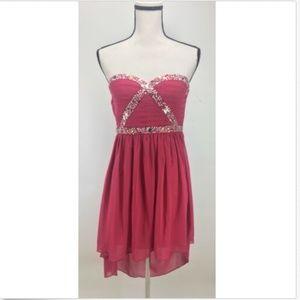 a. drea Strapless Dress Size S Embellished Hi-Lo